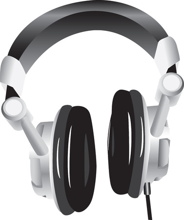Three dimensional illustration of modern headphones, isolated on white background.