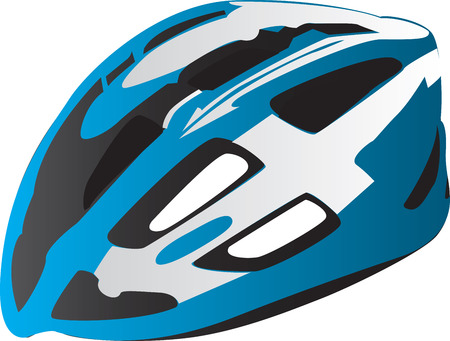 blue helmet: Illustration of modern bicycle safety helmet isolated on white background.