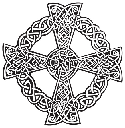 An illustration of a Celtic cross in an abstract design, isolated on white background.