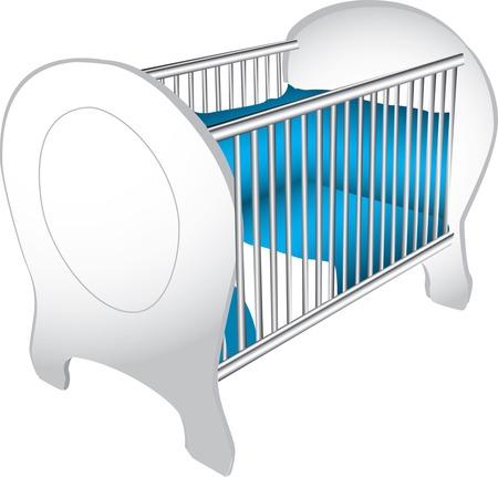 Illustratie van een houten wit baby wieg met blauwe beddengoed, geïsoleerd tegen een witte achtergrond.