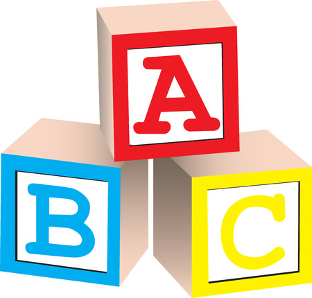 english letters: A 3D illustration of english alphabet blocks, isolated on white background.