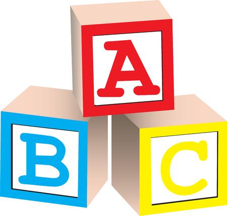 Een 3D illustratie van Engelse alfabet blokken, geïsoleerd op een witte achtergrond.