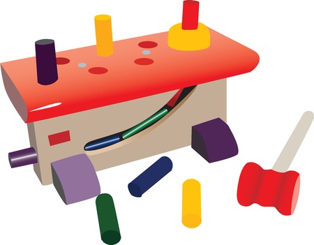 Small toy workshop, with plastic tools, nails and hammer. Colorful toys. Çizim