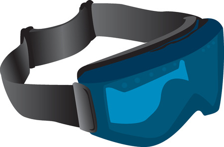 Illustration of blue tinted ski goggles isolated against a white background.