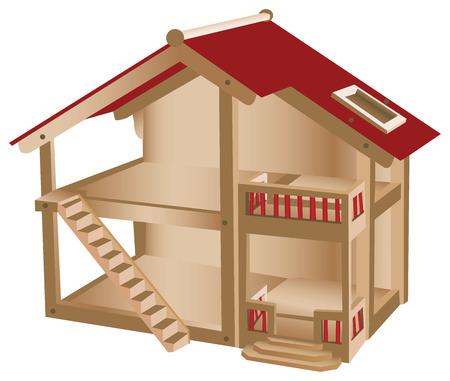 Kleines Spielhaus für Kinder. Hölzernes Miniaturhaus Vektorgrafik