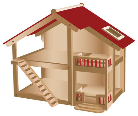 doll: Small playhouse for kids. Wooden miniature house