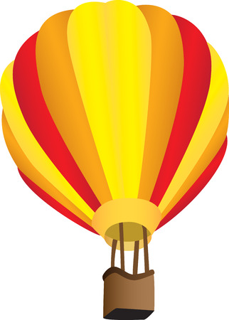 Three dimensional illustration of stripy hot air balloon, isolated on white background. Çizim