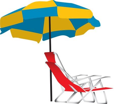 下にポータブル赤ラウンジチェアと青と黄色のビーチ傘のイラスト。白い背景で隔離されました。