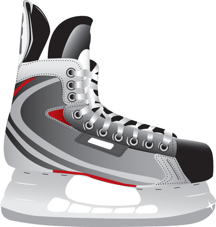 equipment: Illustrated ice hockey skate isolated against a white background.