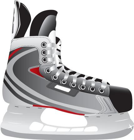 zapatos de seguridad: Ilustrado skate de hockey sobre hielo aislados sobre un fondo blanco.