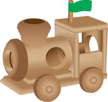 An illustration of a wooden toy train.