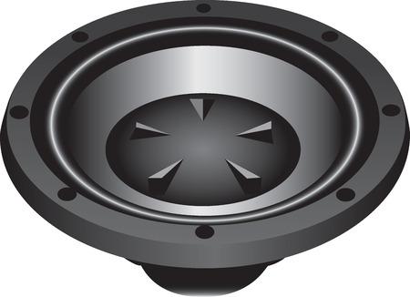 loud speaker: Three dimensional illustration of modern loud speaker, isolated on white background. Illustration