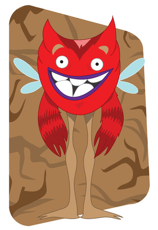 ecard: Funny looking red alien monster with wings and fluffy arms, mosquito or fly wings, small devil horns, on an earth looking brown background, long leg. Great for card, e-card, postcard, prints, anniversary