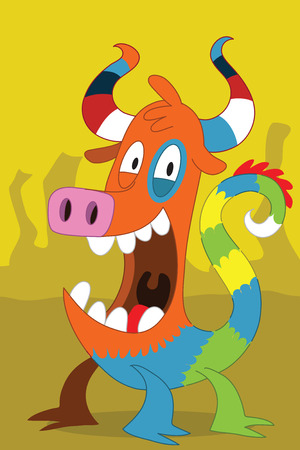 Taurus with stripe horn alien monster with colored dragon tail, pig nose, striped horns, look overjoyed smile on a yellow canyon background Vector