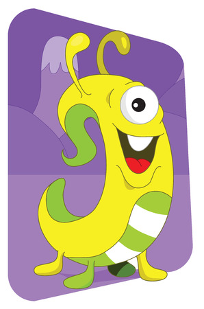 Friendly looking worm or snake alien monster from another planet, on a purple mountaintops background Vector