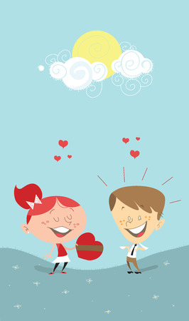 caucasian woman: A Saint-Valentines romantic illustration of a girl giving a heart gift to a boy, or woman to a man. Man is surprised, and both looks as if they were in love, on a bright sunny day