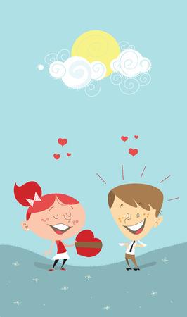 dibujos animados de mujeres: Rom�ntico ilustraci�n un-de San Valent�n de una ni�a dando un regalo de coraz�n a un ni�o, o una mujer a un hombre. El hombre es sorprendido, y ambos se ve como si estuvieran en el amor, en un d�a soleado brillante
