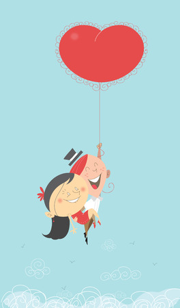 hot couple: A Saint-Valentines romantic retro illustration of a man and woman flying in the sky, going to paradise holding a hot air big heart red balloon