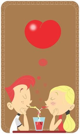 sip: Joven pareja retro bebiendo en el mismo de vidrio en un restaurante. Dise�o de tarjetas de San Valent�n. Pajas entrelazados. Hombre adolescente y mujer en escena de amor