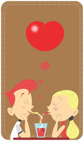 Young retro couple sipping in the same glass in a restaurant. Saint Valentines card design. Intertwined straws. Teen man and woman in love scene Vector