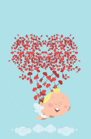Cute flying cupid, losing his back of heart arrows in the sky, who themselves are forming a heart. Great for Valentines Day card, post card, e-card, prints or ads. Vector