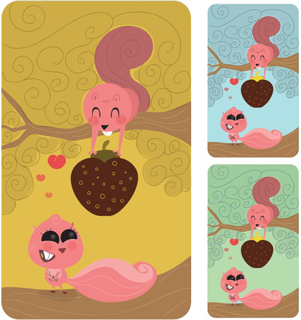 retro: Cute male squirrel or rodent in a tree giving his nut or strawberry to his fiancee or lover. She is enticed with him, completly in love. Retro style illustration