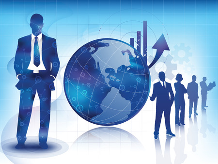 expertise: Illustration of business professionnals, with an arrow showing increase sales over a global Earth concept, with a team of experts sillhouette
