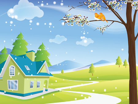 寒い冬の日に緑および青の環境に優しい家は、最初ゆっくり来て雪します。いくつかの木や山の風景に地平線を見ています。