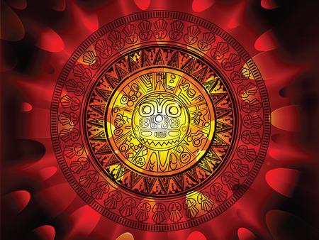 Maya calendar on a end of days background Vector