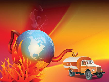oil change: An illustration on global warming and climate change, showing a boiling tea kettle Earth being drained of his oil or petrol