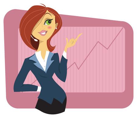 Sexy jonge vrouw in een pak toont een grafiek van de succesvolle groei van Financiën of bedrijf