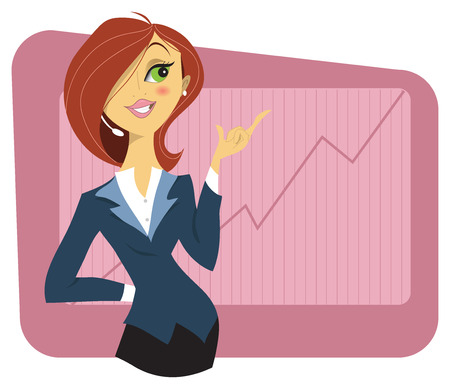 business: Sexy young woman in a business suit showing a graph of successful finance or company growth