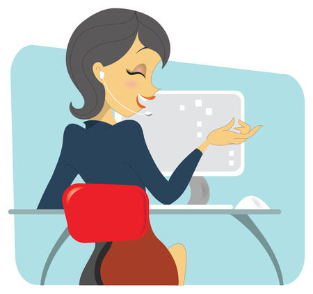 laptop screen: A dark haired professional woman sitting at her desk, on conversation on the wireless phone. She is sitting in front of her workstation, showing a computer setup. Illustration