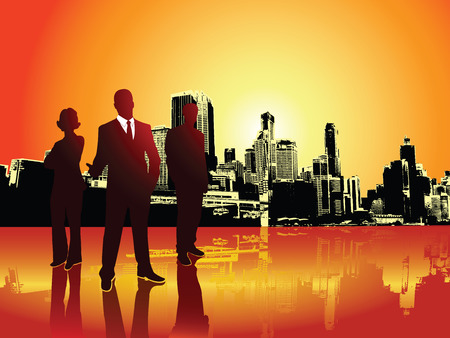 reflection: A team of professional businessman and businesswoman in front of a raising sun over a city, in silhouette. Orange and red warm sky.