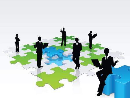 hombres de negocios: Una ilustraci�n 3D de un equipo de profesionales para resolver un rompecabezas, una met�fora de un equipo de cuidado de los problemas de las empresas