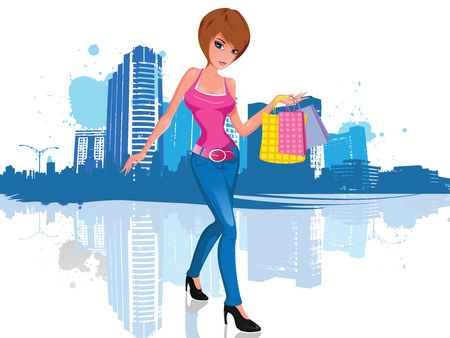 illustration of a young and attractive brunette woman with short hair, wearing an attractive pink shirt and black high heels shoes. She has three shopping bags in her hands. She walks in front of a cityscape illustration silhouette, with blue paint splash Illustration