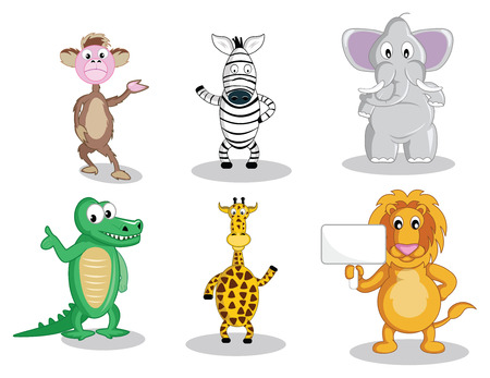 front view: A monkey and a zebra waving their hand, a fat elephant, smiling intelligent gator, waving giraffe and a lion holding a sign, all in vector illustration cartoon.
