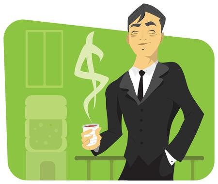Vector de un empresario sonriente en su oportunidad, tener un café con un signo de dólar de vapor subiendo de ella. Foto de archivo - 8764324