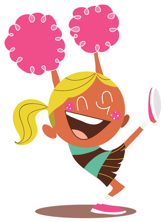 Yound blond illustration of a smiling cheerleader and cheering, with one leg in the air. Looks excited.