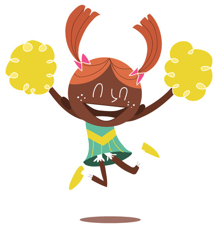 ponytails: Young illustration of a black smiling cheerleader jumping and cheering with two ponytails. Looks excited.