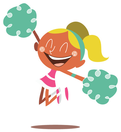 Young blond illustration of a smiling cheerleader jumping and cheering. Looks excited.