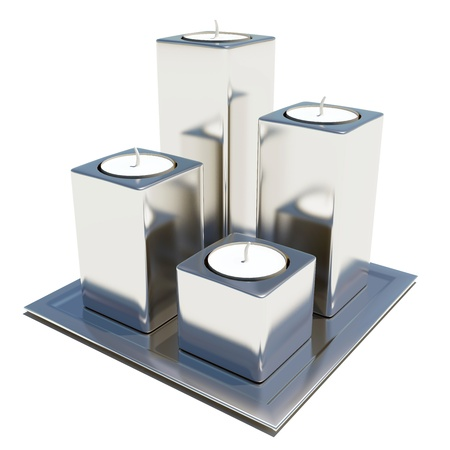 Four silver or stainless steel round and white wax candle holders, isolated against a white background, on a square platter. photo