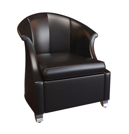 3D photorealistic image of a black leather comfy armchair, isolated against a white background