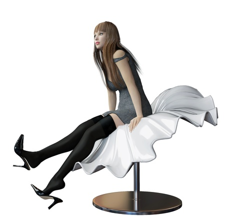 A sexy white woman, whit black high heels shoes, short skirt or robe and long hair, sitting in a futuristic plastic flowing sheet bench or chair, isolated against a white background. photo