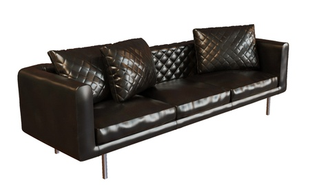3D photorealistic image of a black leather three place sofa, isolated against a white background