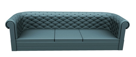Turquoise three place leather or fabric sofa, isoalted against a white background. photo