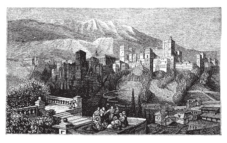 alhambra: The Alhambra, in Granada, Spain. Old engraving around 1890, showing a group of people in front of the Alhambra fortress, also called the Red Palace.