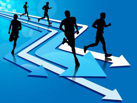 running track: Groep van vijf man silhouet draait op blauwe en witte pijl tracks, op een blauwe achtergrond met lichte cirkels.