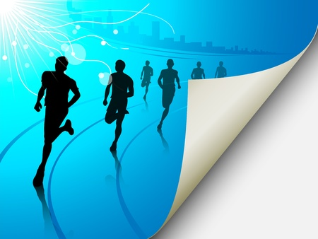 A set of six runners or marathon runners, running on a track on an abstract city or cityscape background with a sun. Vector illustration. The page looks like it is flipping, can easily add content there. Illustration
