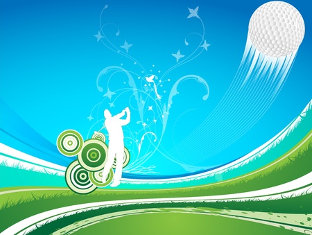 Driver hitting a golf ball. Ball is going high, on a green and blue background of grass and swirls. Sport concept
